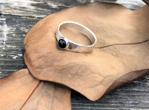 Sterling Silver Handmade Ring with Onyx stone